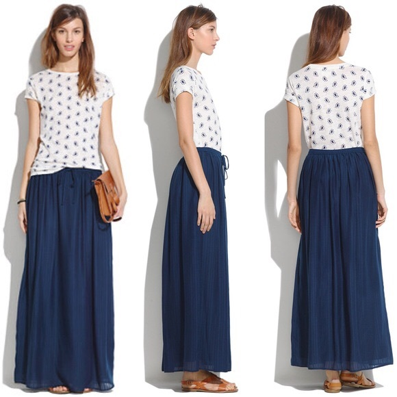 75415274c Madewell Skirts | Nwt Navy Blue M Skyward Maxi Skirt | Poshmark